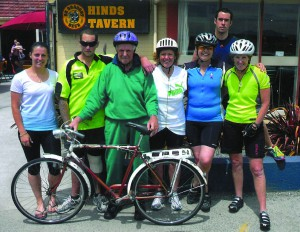 From left, Lauren Terry, right back  Lyall Wichman, both front and back vehicle support crew.  See left, Jaydon Crack who was a seven year old cancer sufferer, Charity leader George Crack, George's daughters Caroleen Crack and Sharon Wichman. Also pictured in the photograph is Lisa Barwell, a family friend and past breast cancer patient